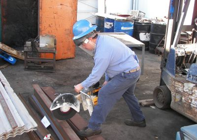Cutting Scrap Metal in the Smart Recycling scrap yard