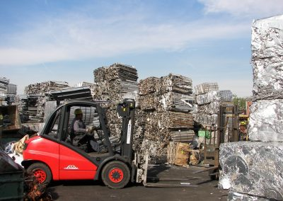 smart recycling scrap metal yard with forklift